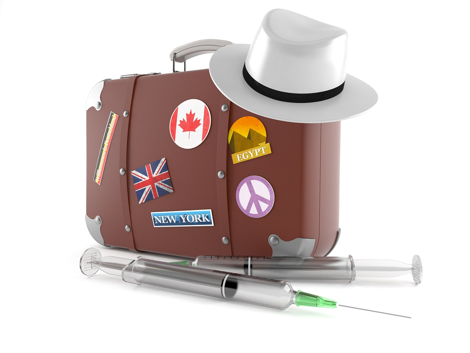 suitcase, hat and vaccines