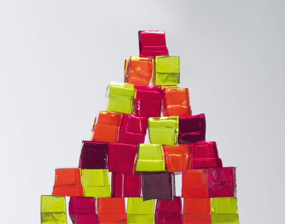 colorful gelatin cubes