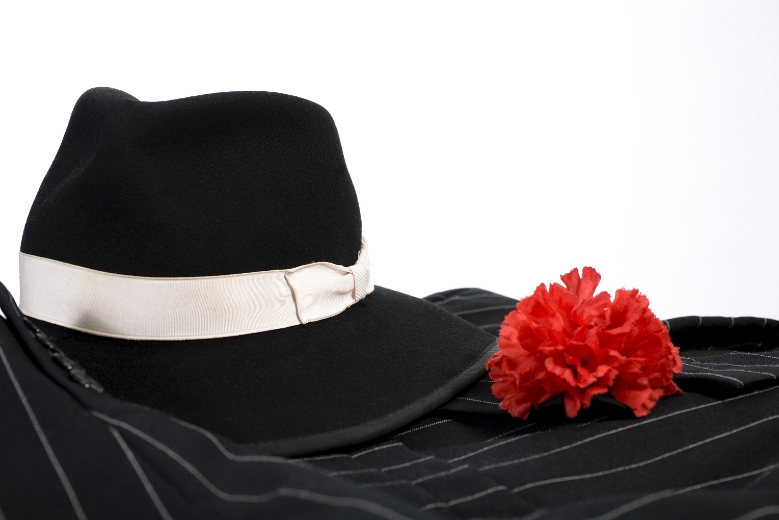 hat, suit, and red carnation