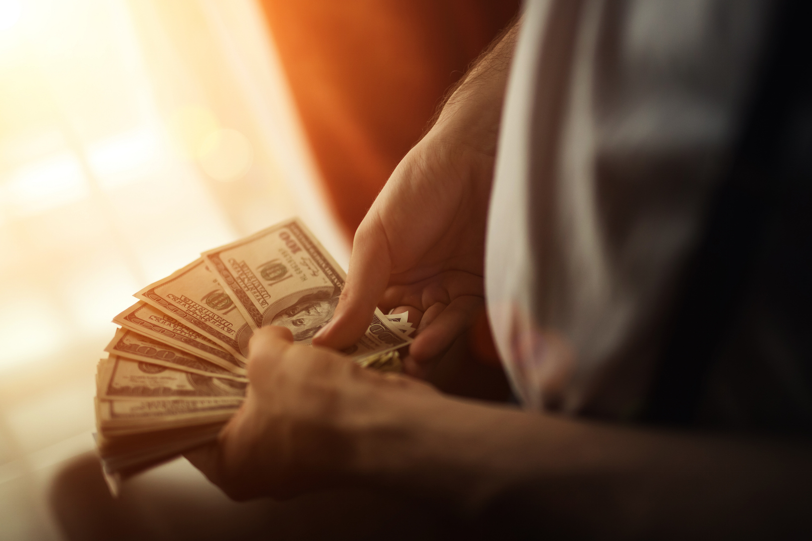 man holding money